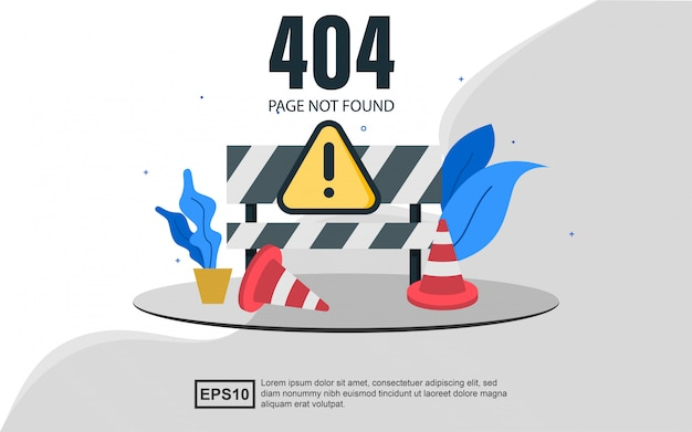 Page de destination du modèle web d'erreur 404 avec des cônes.