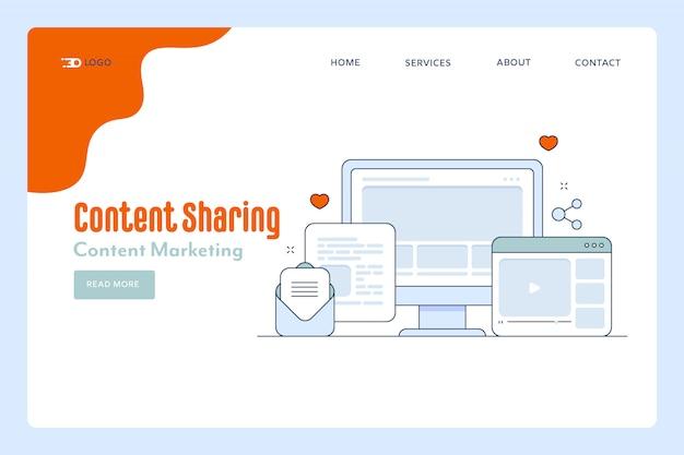 Page de destination du partage de contenu