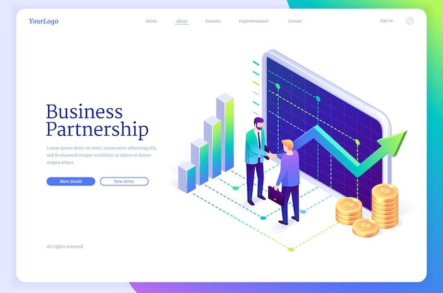 Page de destination du partenariat commercial