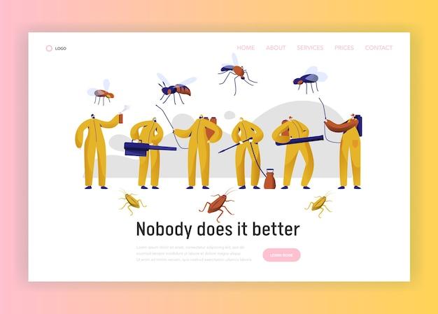 Page de destination du personnage professionnel de lutte antiparasitaire contre les moustiques. homme en uniforme lutte avec insecte. service de désinfection des cafards avec site web ou page web de fumigation toxique. illustration vectorielle de dessin animé plat