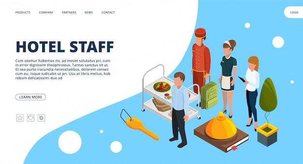 Page de destination du personnel de l'hôtel. concept d'hospitalité isométrique