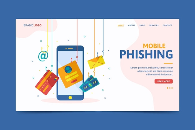 Page de destination du phishing mobile