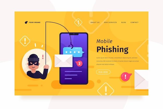 Page de destination du phishing mobile