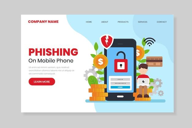 Page de destination du phishing sur téléphone portable