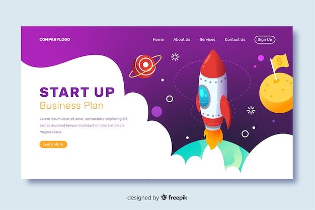 Page de destination du plan d'affaires de la startup