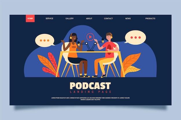 Page de destination du podcast avec des personnes qui discutent