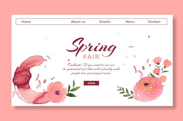 Page de destination du printemps aquarelle