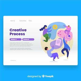 Page de destination du processus créatif dessinée à la main