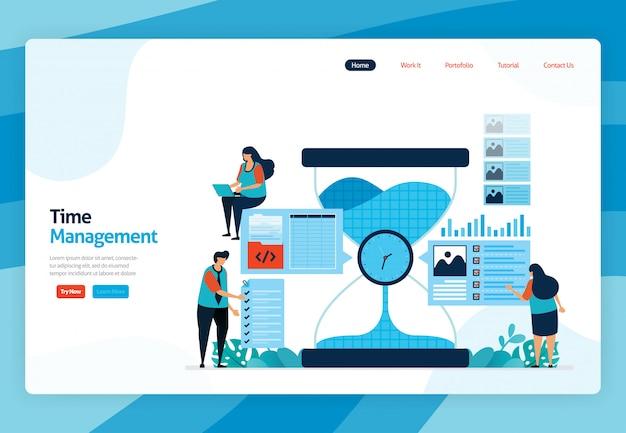 Page de destination du projet d'emplois de gestion du temps et de planification