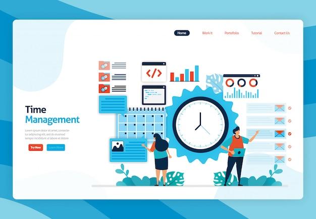 Page de destination du projet de gestion du temps et de planification des travaux