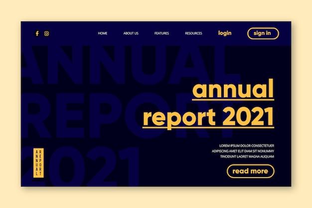 Page de destination du rapport annuel