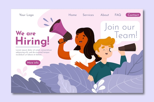 Page de destination du recrutement créatif