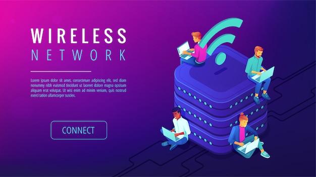 Page de destination du réseau sans fil isométrique