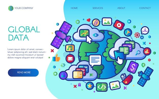 Page de destination du réseau social de données mondiales