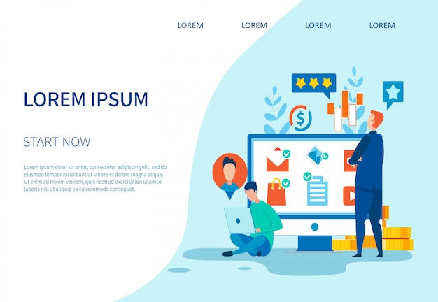 Page de destination du réseau social et du marketing d'entreprise