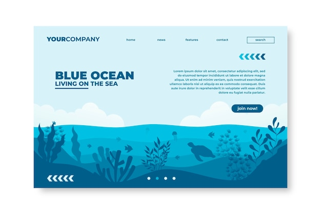 Page de destination du restaurant blue ocean