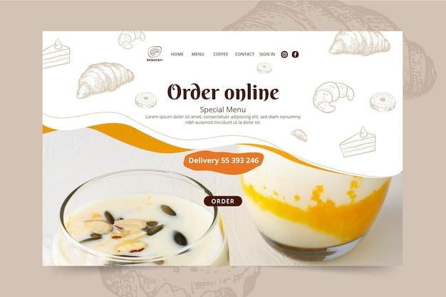 Page de destination du restaurant de petit-déjeuner
