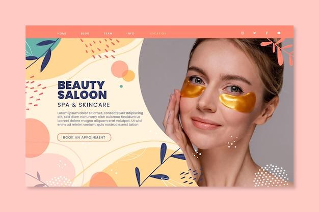 Page de destination du salon de beauté