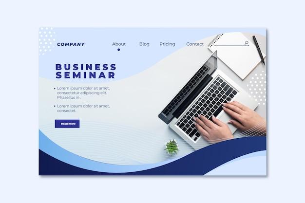 Page de destination du séminaire d'entreprise