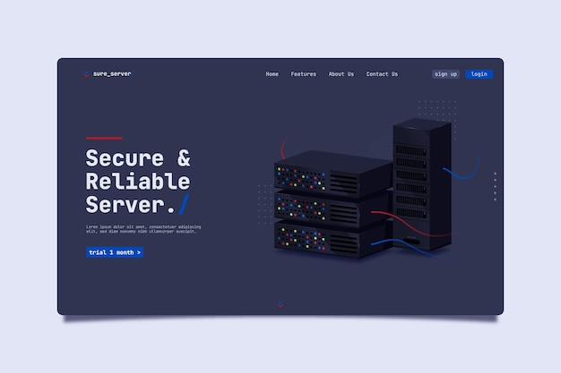 Page de destination du serveur sécurisé et fiable