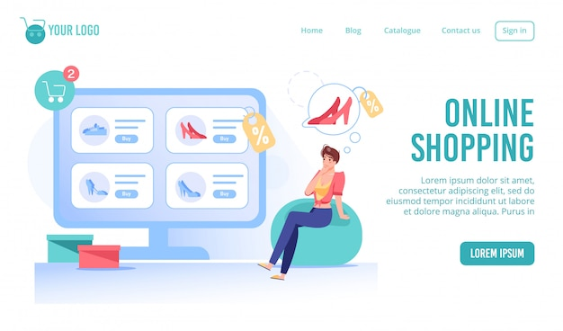 Page de destination du service d'achat intelligent de mode en ligne