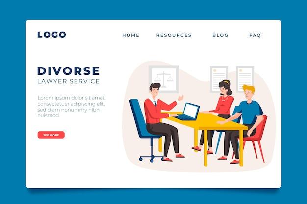 Page De Destination Du Service Des Avocats En Divorce Vecteur Premium