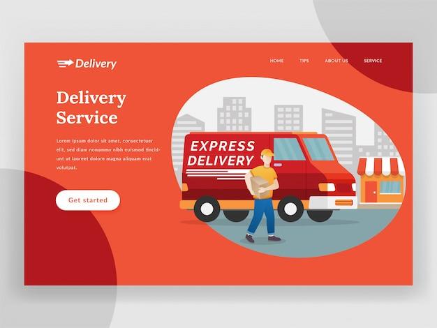 Page de destination du service de livraison en ligne avec fourgonnette