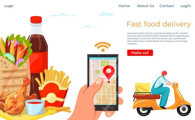 Page de destination du service de livraison en ligne de restauration rapide