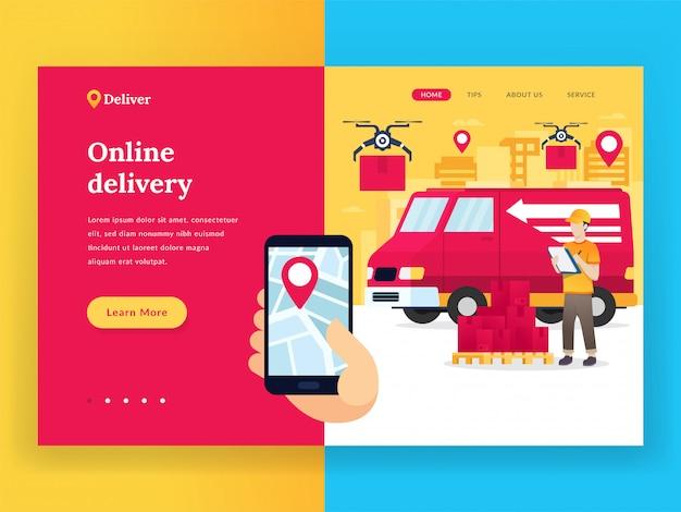 Page de destination du service de livraison en ligne