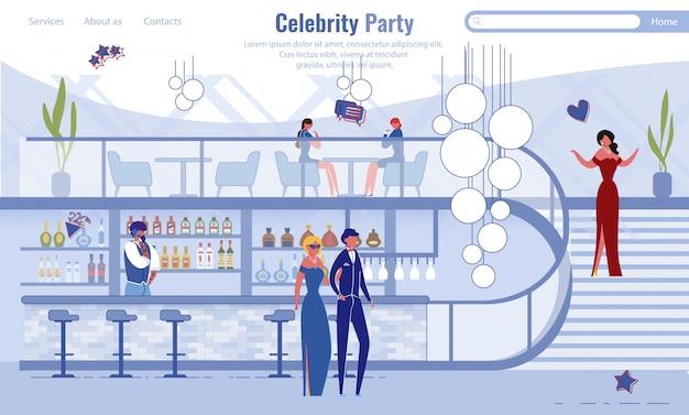 Page de destination du service d'organisation de célébrités