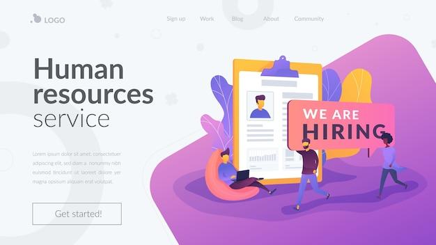 Page de destination du service des ressources humaines