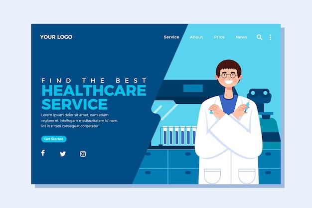 Page de destination du service de santé au design plat