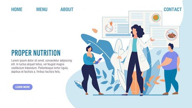 Page de destination du service de sélection nutritionnelle appropriée
