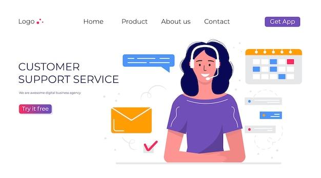 Page de destination du service de support client. concept avec femme avec casque et microphone avec ordinateur portable. sujet d'affaires et communication numérique pour l'assistance, centre d'appels. vecteur à la mode