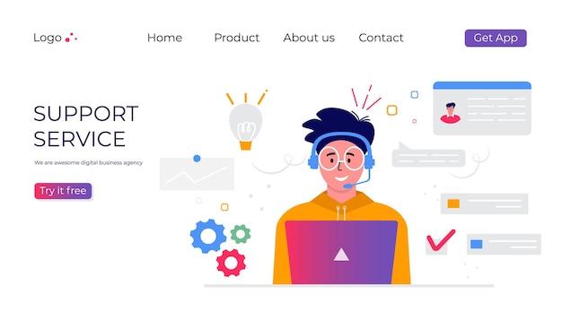 Page de destination du service de support client. concept avec homme avec casque et microphone avec ordinateur portable. sujet d'affaires et communication numérique pour l'assistance, centre d'appels. vecteur à la mode
