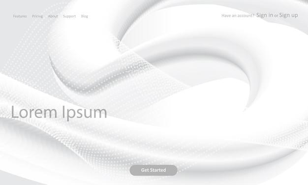 Page de destination du site web abstrait avec un design 3d monochrome
