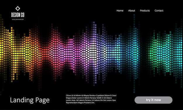 Page de destination du site web abstrait avec un design d'ondes sonores colorées