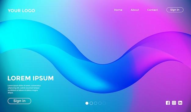 Page de destination du site web avec un arrière-plan coloré dynamique