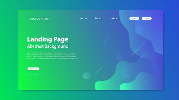 Page de destination du site web avec composition de formes fluides