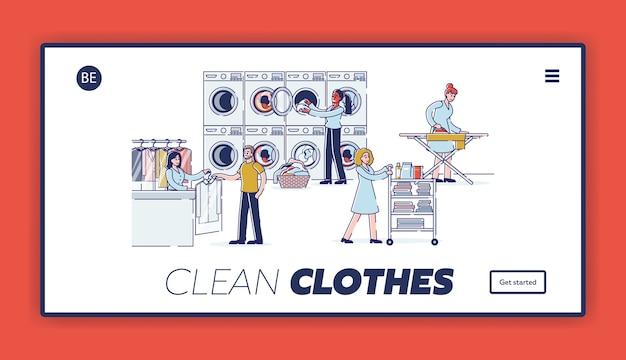 Page de destination du site web de concept de blanchisserie
