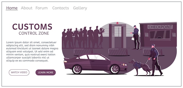 Page de destination du site web de contrôle douanier