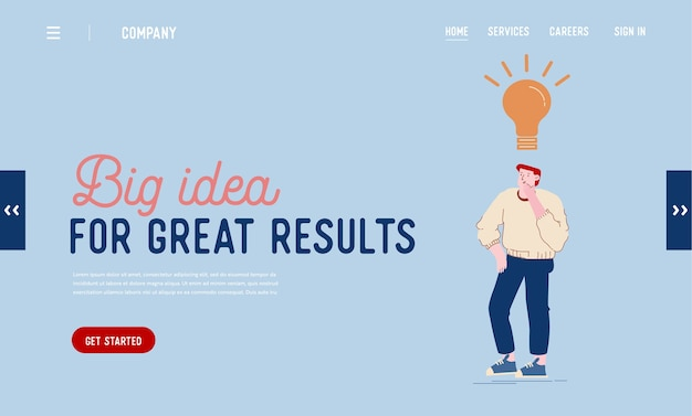 Page de destination du site web sur la créativité, le remue-méninges et l'imagination