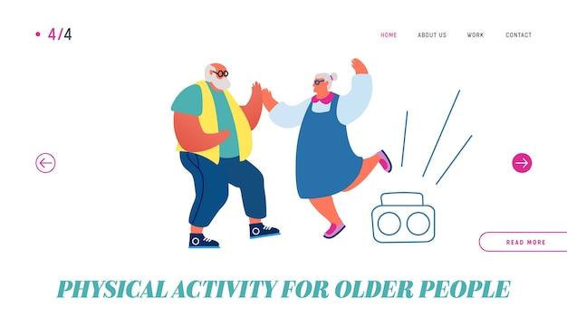 Page de destination du site web de danse de couple senior