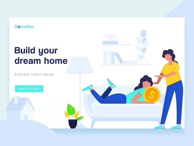 Page de destination du site web du concept de maison achetante