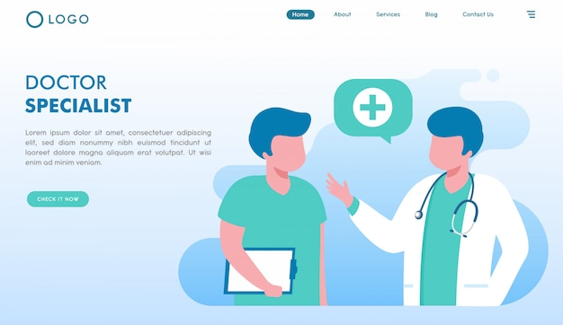 Page de destination du site web du médecin spécialiste