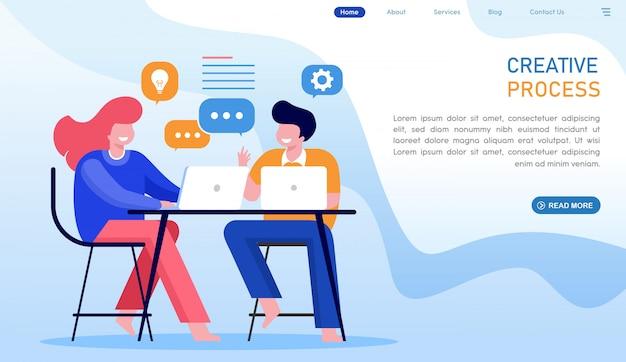 Page de destination du site web du processus créatif