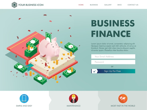 Page de destination du site web des finances commerciales