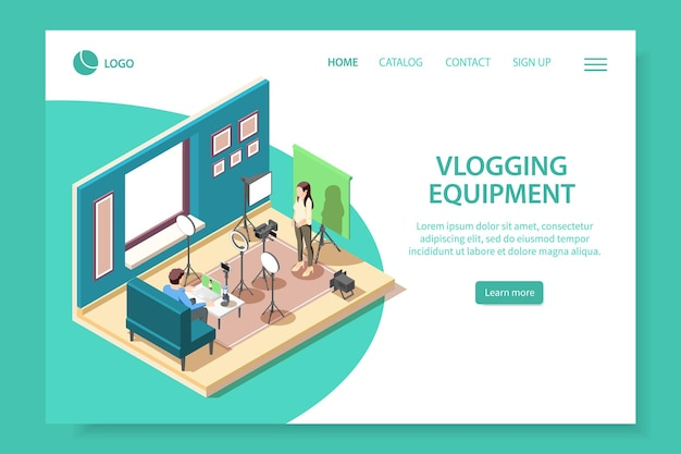 Page de destination du site web isométrique de l'équipement de vlogging