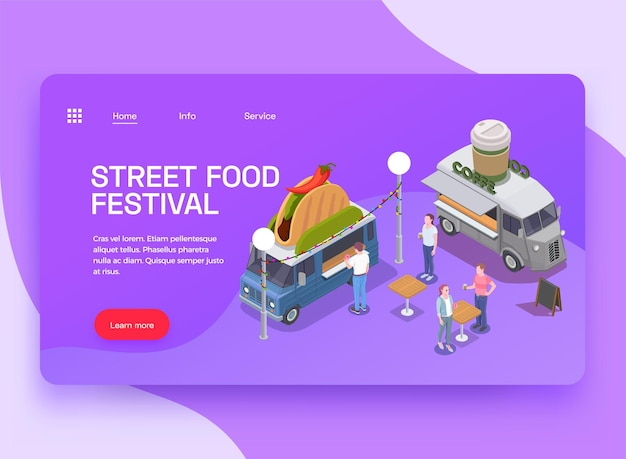 Page de destination du site web isométrique food truck