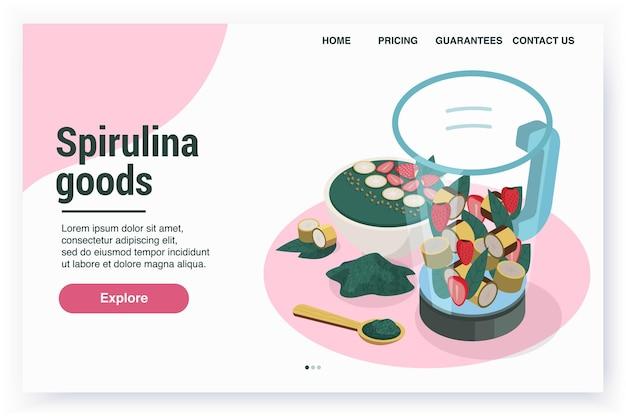 Page de destination du site web isométrique de la spiruline avec des liens cliquables et des images de produits
